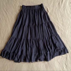 Lapis Black Ruffle Maxi Skirt Medium